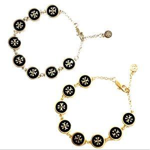 TORY BURCH enamel raised-logo bracelet